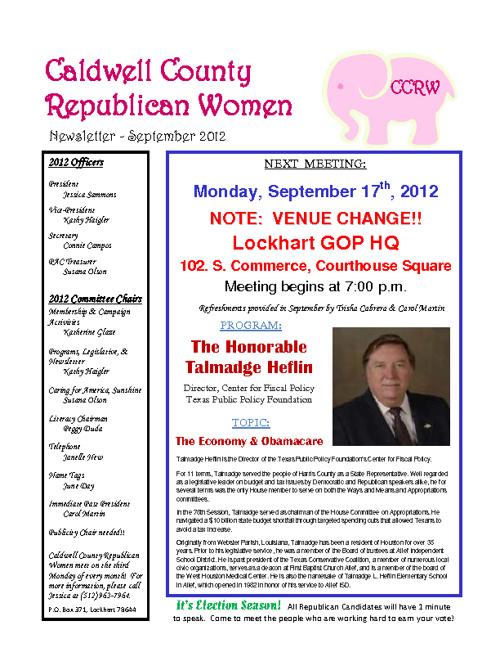 Caldwell County Republican Women September Newsletter
