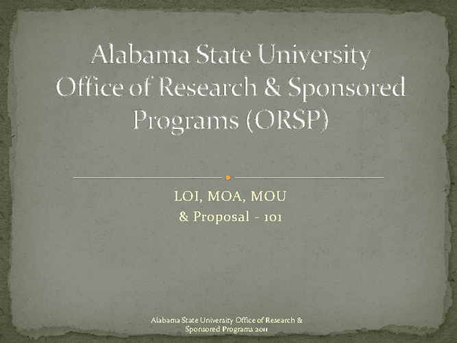 Proposal MOA, MOU, & LOIrelease