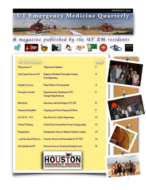 UT Emergency Medicine Quarterly (Winter 2012/2013)