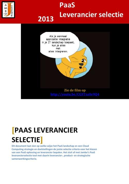 Leverancier Selectie voor PaaS; een hulpmiddel