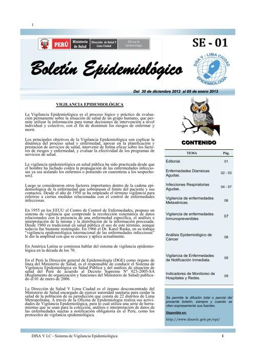 Boletín Epidemiológico Nº 01