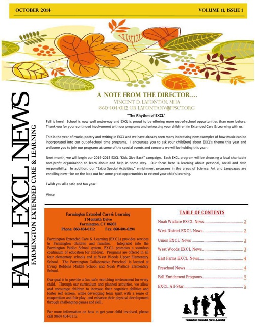 EXCL Fall Newsletter 2014
