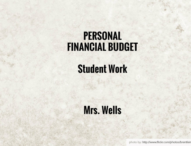 Personal Financial Budget Student Work