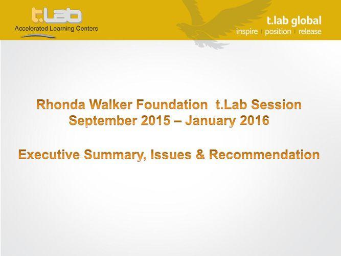 RWF Executive Summary- September 2015 to February 2016