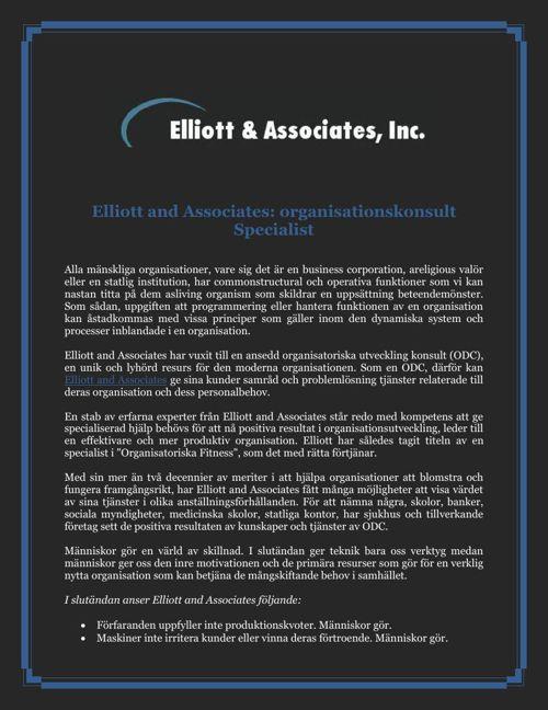 Elliott and Associates: organisationskonsult Specialist