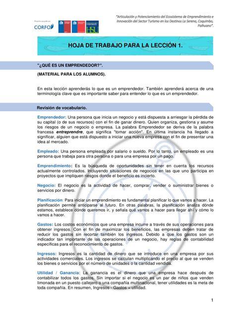 HOJA DE TRABAJO ALUMNOS LECCION 1