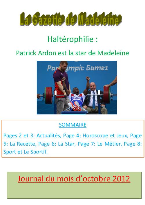 La gazette de Madeleine - octobre 2012