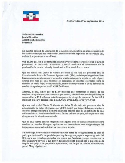 Solicitud de ARENA para convocar Presidenta del Banco de Fom