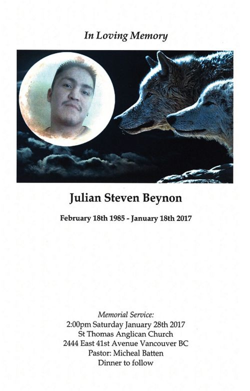 Funeral Service Program for Julian Steven Beynon
