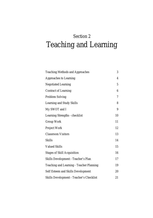 Section 2 - Teaching and Learning