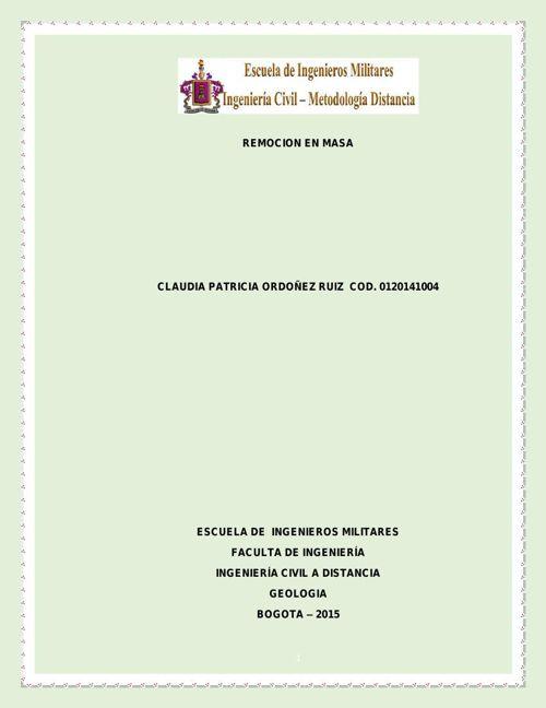 Trabajo No 3, Corte II Geología, Remoción de masa