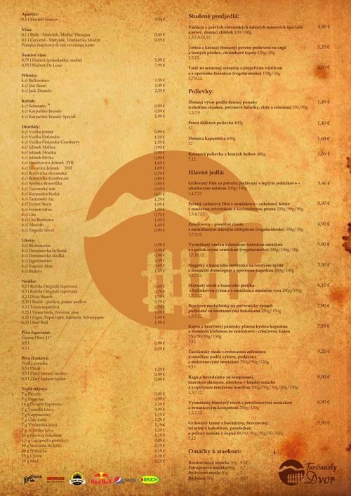 Jedálny & nápojový lístok - Turčiansky dvor
