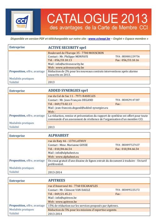 Catalogue Avantages Membres CCI Wapi 2013