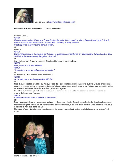 Liane EDWARDS - Interview - Mai 2011 - LUNEL