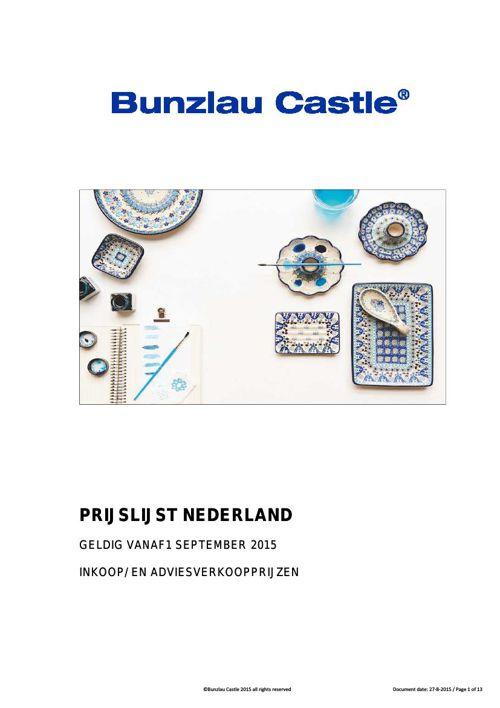 Bunzlau Castle Prijslijst Nederland Sept 2015