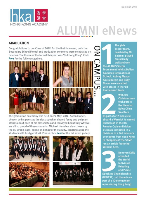 HKA Alumni eNews 2014 Summer