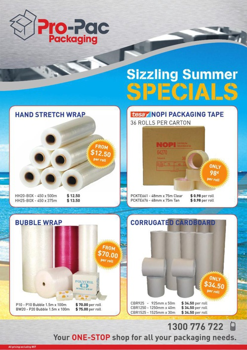Pro-Pac Packaging WA Sizzling Summer SPECIALS!