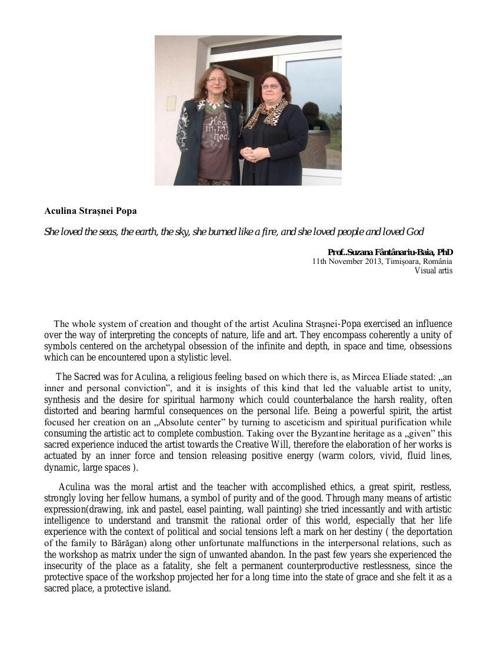 About the Artist by Prof..Suzana Fântânariu-Baia, PhD