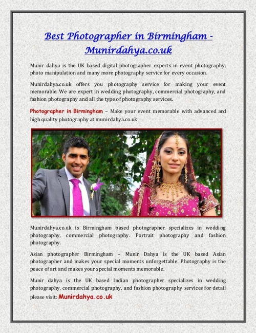 Best Photographer in Birmingham - Munirdahya.co.uk