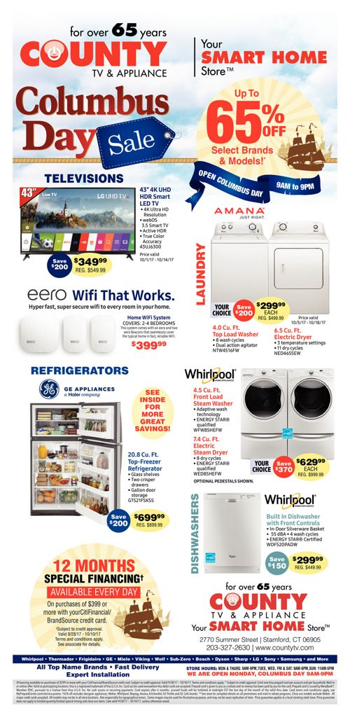 County TV and Appliance Columbus Day Sale!