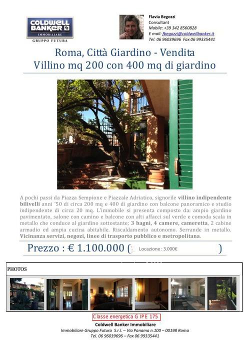 Brochure - Vendita e Locazione Villino Nomentana Città Giardino