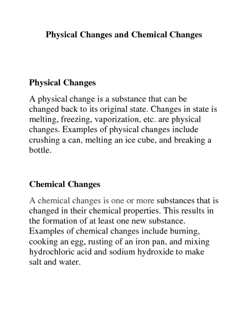 Copy of Physical Changes and Chemical Changes