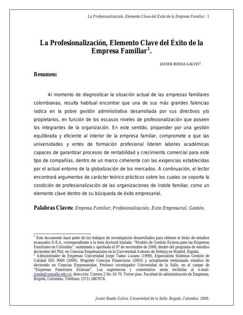LA PROFESIONALIZACION DE LA EMPRESA FAMILIAR