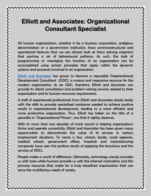 Elliott and Associates: Organizational Consultant Specialist