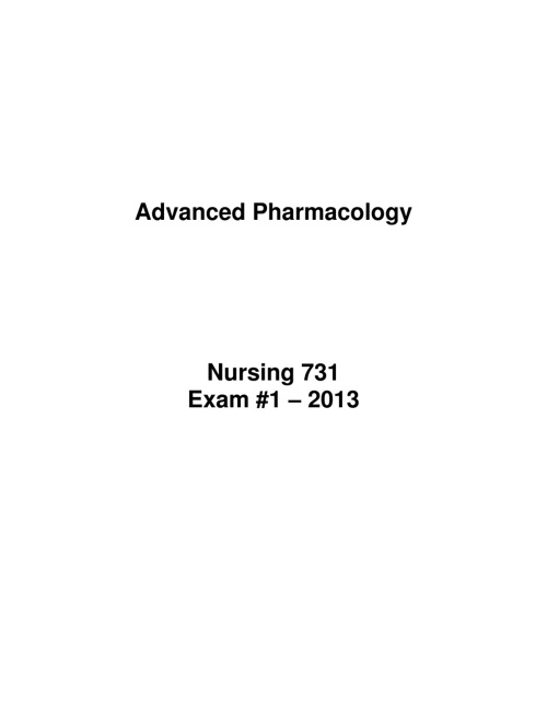 Exam 1 - Pharmacy 731
