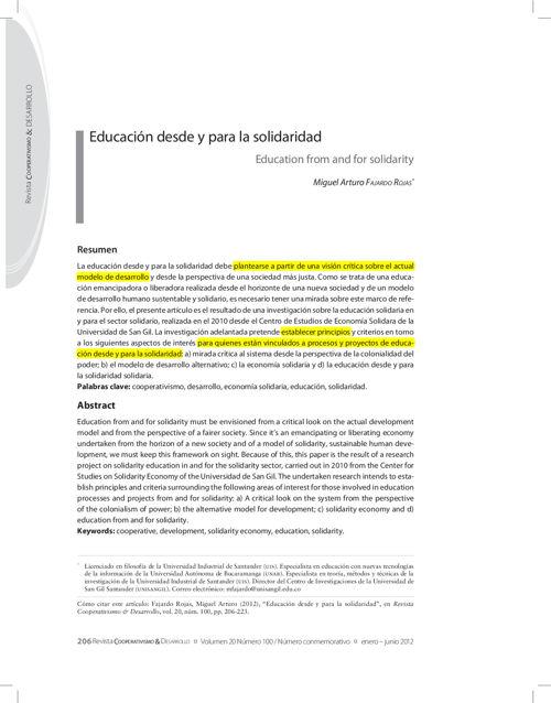 Articulo 15. Educacion desde y para la solidaridad