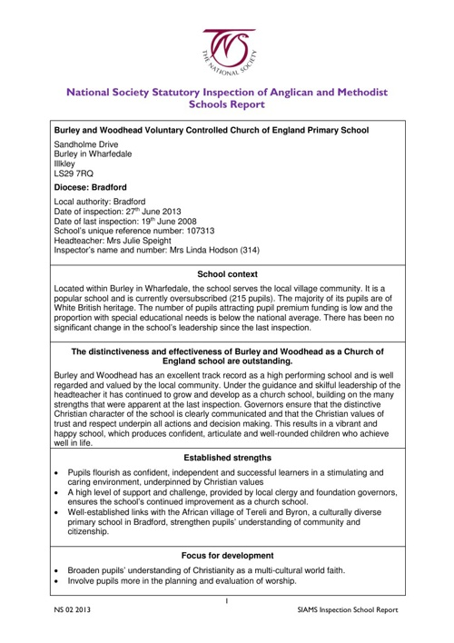 Statutory Inspection of Anglican Schools Report