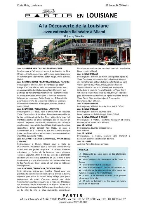12J - A LA DECOUVERTE DE LA LOUISIANE avec extension MIAMI - MAI