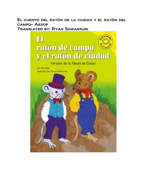 El cuento del ratón de la ciudad y el ratón del campo