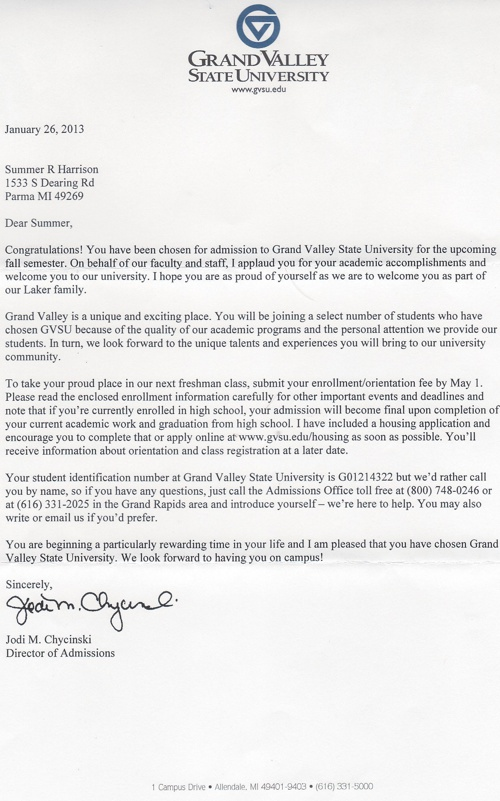 College Acceptance Letters