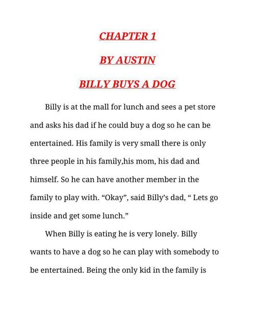 Billy buys a dog