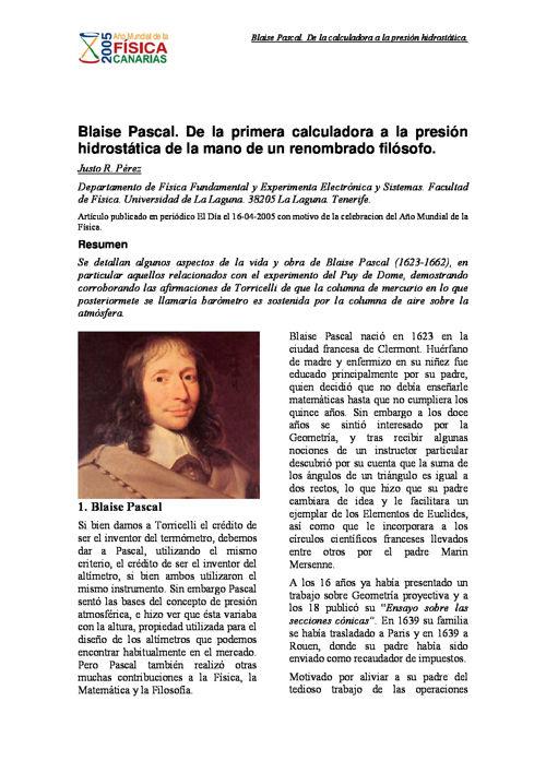 Blaise Pascal de la calculadora a la presion hidrostatica
