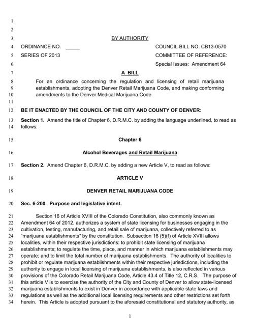 Denver Retail Marijuana Rules & Regulations 10.1.13