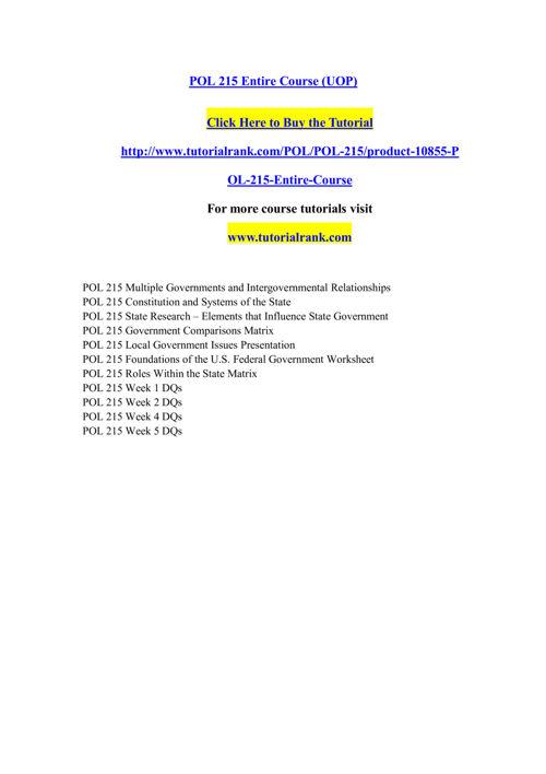POL 215 Course Extraordinary Success/ tutorialrank.com