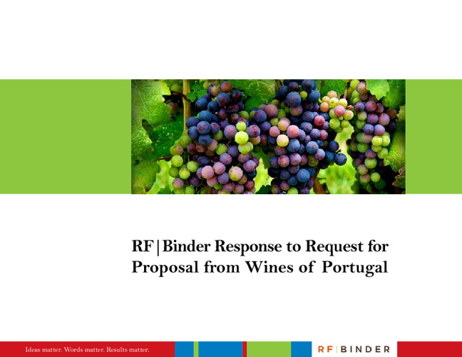 RFBinder Response to Request for Proposal from Wines of Portugal