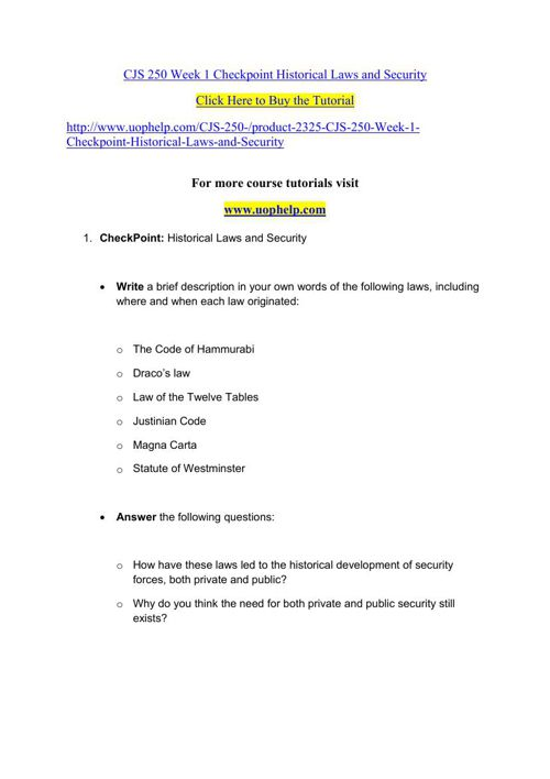 CJS 250 Week 1 Checkpoint Historical Laws and Security