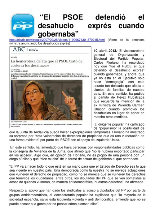 Desahucios PSOE