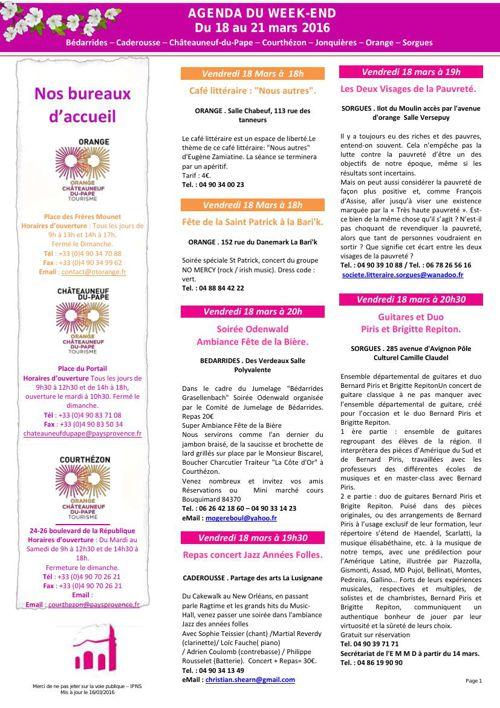 Agenda du Week End 18 Mars au 21 Mars 2016