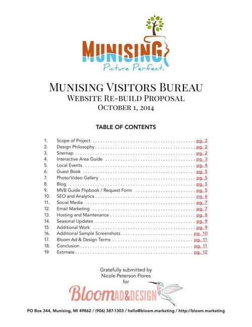 Munising Visitors Bureau - Website Re-build Prop