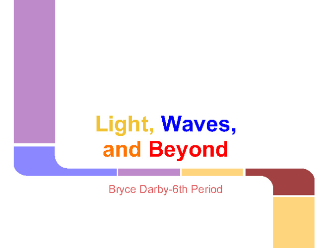 Light, Waves and Beyond
