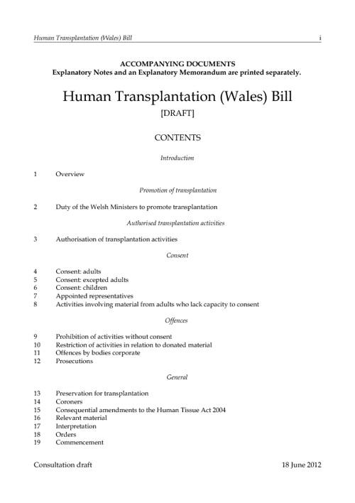 Human Transplantation (Wales) Bill