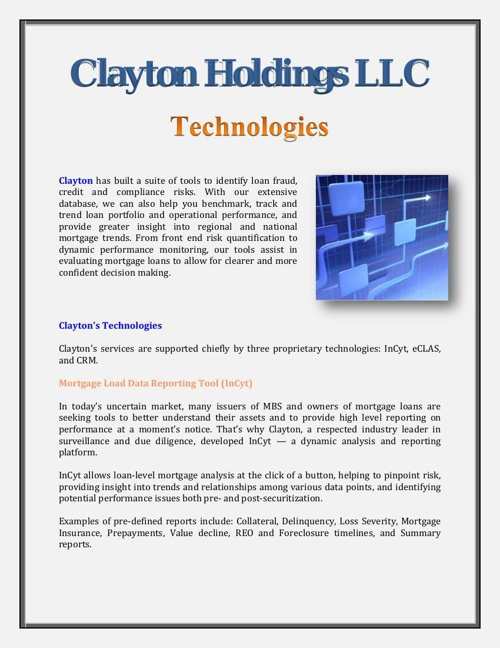 Clayton Holdings LLC: Technologies