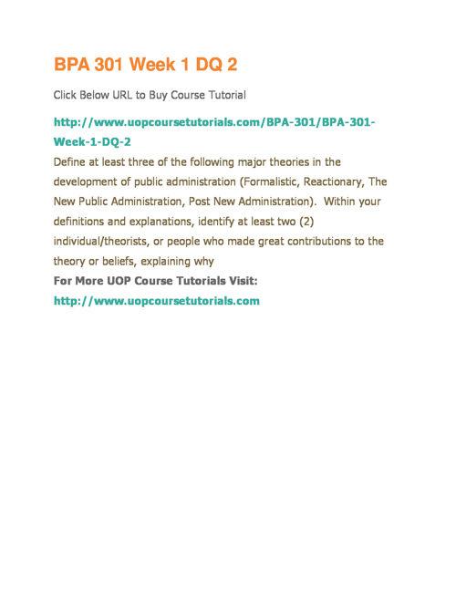 BPA 301 UOP Course Tutorials,BPA 301 Entire Course Materials,BPA