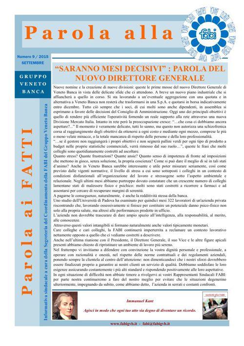 57 - Parola alla FABI - Settembre 2015