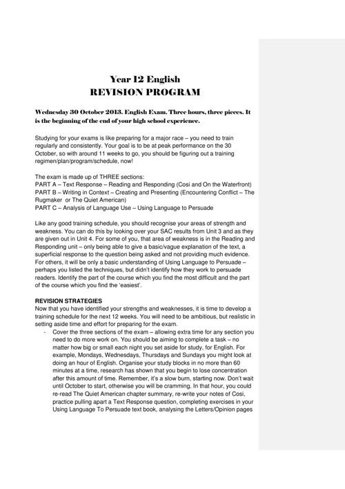 Year 12 English exam revision
