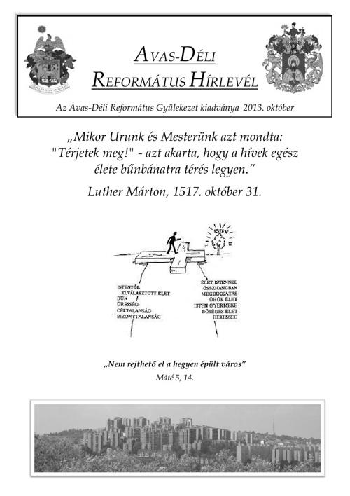 Gyülekezeti Hírlevél 2013. október